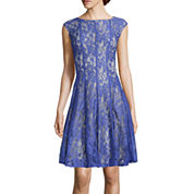 Danny & Nicole® Vertical Seam Lace Fit-and-Flare Dress