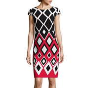 R&K Originals® Cap-Sleeve Diamond-Print Shift Dress