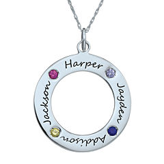 Personalized Simulated Birthstone Engraved Family Pendant Necklace
