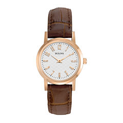 Bulova® Womens Rose-Tone Brown Leather Strap Watch 97L121