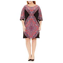 London Times 3/4 Sleeve Sheath Dress-Plus