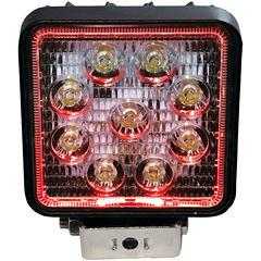 Race Sport Inc. RS27W4R 4IN Square 27-Watt 1;755-Lumen LED Spotlight with Halo (Red)