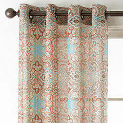 JCPenney Home Batiste Paisley Grommet-Top Sheer Curtain Panel
