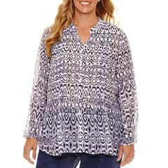 Lark Lane Summer Spirit 3/4 Roll TabSleeve Button-Front Shirt-Plus
