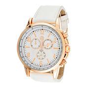 Zunammy® Mens White Leather Strap Watch