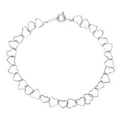 Silver Reflections™ Sterling Silver Openwork Heart Link Bracelet