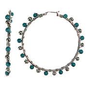 Aris by Treska Blue Large Wrapped Silver-Tone Hoop Earrings
