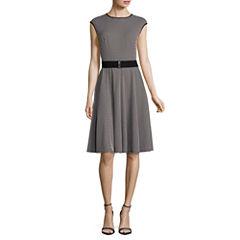 Danny & Nicole Short Sleeve Pattern Fit & Flare Dress-Petites