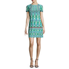 London Style Short Sleeve Shift Dress-Petites