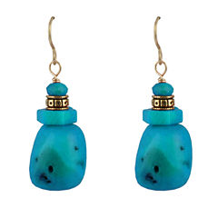 Artsmith By Barse Blue Turquoise Bronze Drop Earrings