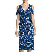 I 'Heart' Ronson® Short-Sleeve Floral Cold-Shoulder Shirt Dress