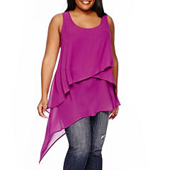 Boutique+ Mixed Layer Woven Tank Top - Plus