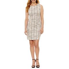 Sharagano Sleeveless Plaid Sheath Dress-Petites