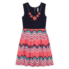 Knit Works Belted Dress with Necklace - Girls' 7-16