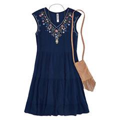 Knit Works Embellished Gauze Tier Dress - Girls' 7-16