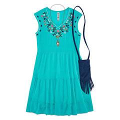 Knit Works Embellished Gauze Tier Dress - Girl's 7-16