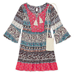Knit Works 3/4 Bell Sleeve Babydoll Dress - Girls' 7-16