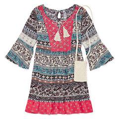 Knit Works 3/4 Bell Sleeve Babydoll Dress - Girls' 7-16