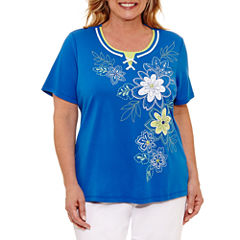 Alfred Dunner Corsica Short Sleeve Crew Neck T-Shirt-Womens Plus