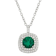 Simulated Round Emerald & Cubic Zirconia Sterling Silver Pendant