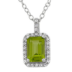 Genuine Peridot & Cubic Zirconia Sterling Silver Pendant Necklace