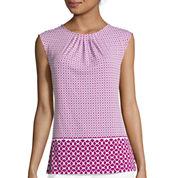 Liz Claiborne® Sleeveless Pleated Neck Print Knit Top