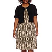 Danny & Nicole® Short-Sleeve Pleated Jacket Dress - Plus