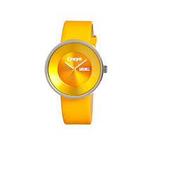 Crayo Unisex Button Yellow Leather-Band Watch With Day&Date Cracr0204