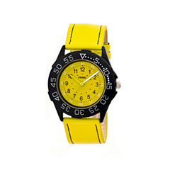 Crayo Womens Fun Yellow Leather-Band Watch Cracr2505
