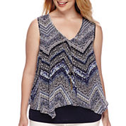 by&by Sleeveless Knit-to-Woven Overlay Top with Necklace - Juniors Plus