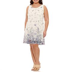Robbie Bee Sleeveless Lace Floral Sheath Dress-Plus