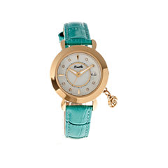 Bertha Womens Rose Mother-Of-Pearl Turquoise Leather-Band Watch With Datebthbr5504