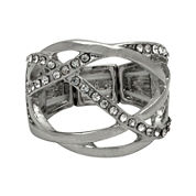 The Boutique Silver-Tone Criss-Cross Stretch Ring