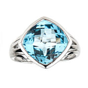 LIMITED QUANTITIES Cushion-Cut Blue Topaz Sterling Silver Ring