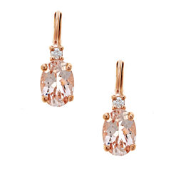 LIMITED QUANTITIES  Oval Morganite 10K Rose Gold Drop Earrings
