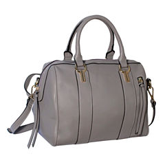 Dot Dash Double Handle Front Zip Pocket Satchel