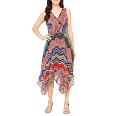 Rabbit Rabbit Rabbit Design Sleeveless Chevron Fit & Flare Dress