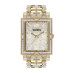 Elgin Mens Crystal-Accent Rectangular Gold-Tone Cross Watch