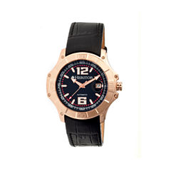 Heritor Automatic Norton Mens Leather Magnified Date-Rose Gold/Black Watches
