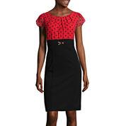 Alyx® Flutter-Sleeve Dot-Print Sheath Dress