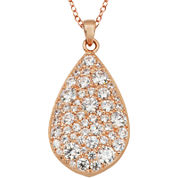 Rose Gold Brass Cubic Zirconic Teardrop Pendant Necklace