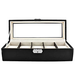 5 Watch Black Leather Watch Box