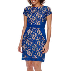 Danny & Nicole® Cap-Sleeve Inset-Waist Pieced Lace Sheath Dress