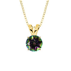 Round Mystic Topaz 10K Yellow Gold Pendant Necklace