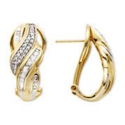 1/2 CT. T.W. Diamond 10K Yellow Gold Swirl Hoop Earrings