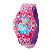 Disney Princess Kids Time Teacher Pink Nylon Fast Strap Watch