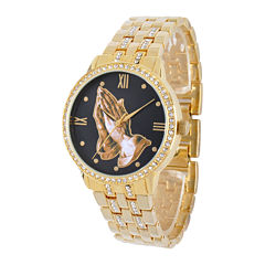 Personalized Crystal-Accent Gold-Tone Praying Hands Watch