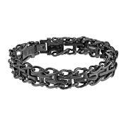 Mens Diamond-Accent Stainless Steel Railroad Cross Bracelet