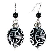 Aris by Treska Black Silver-Tone Disc Earrings