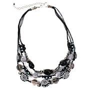 Aris by Treska Acrylic Stone Sterling Silver Multi-Strand Necklace
